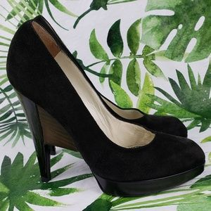 YSL black suede pumps with architectural heel 36/6